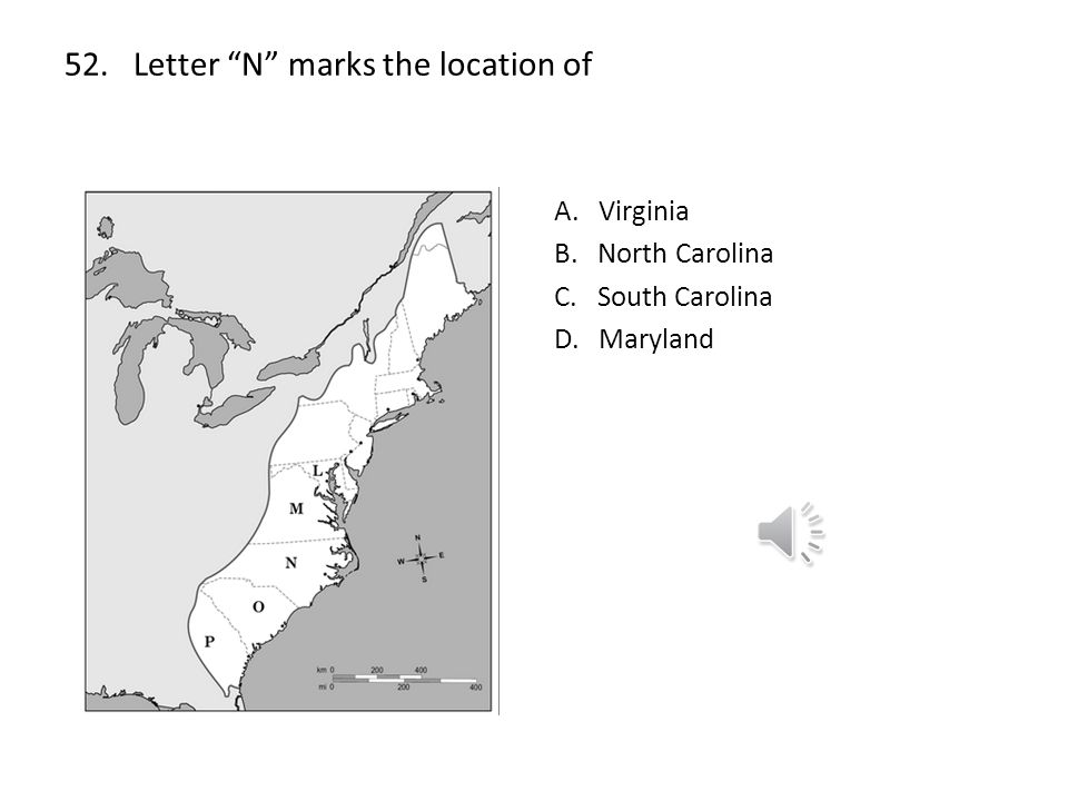 52. Letter N marks the location of