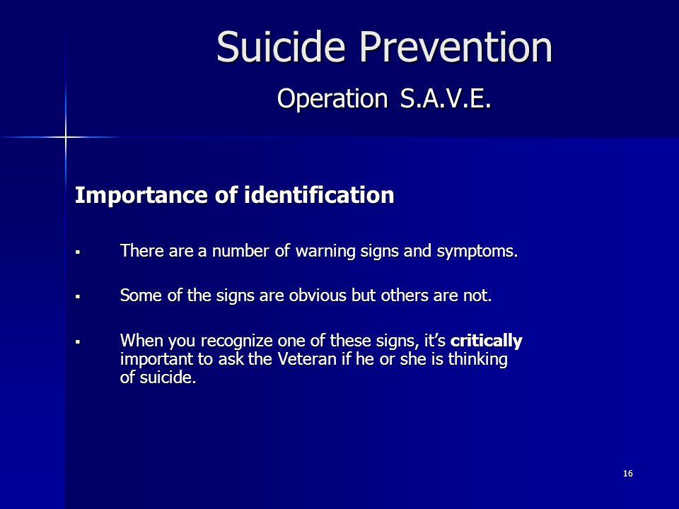 Suicide Prevention Operation S.A.V.E.