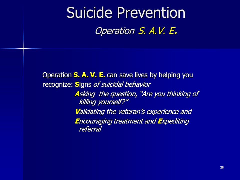 Suicide Prevention Operation S. A.V. E.