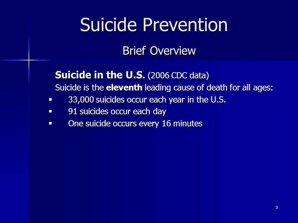 Suicide Prevention Brief Overview
