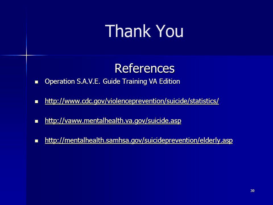 Thank You References Operation S.A.V.E. Guide Training VA Edition