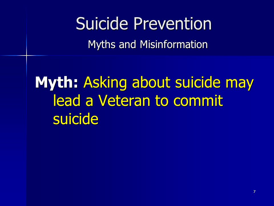 Suicide Prevention Myths and Misinformation