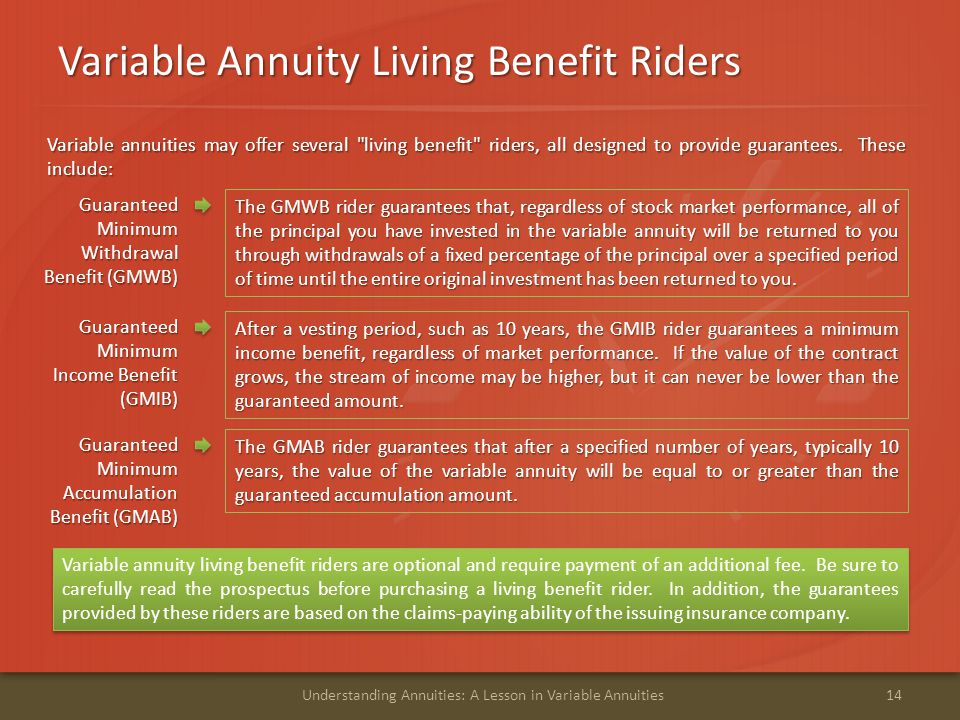 Variable Annuity Living Benefit Riders