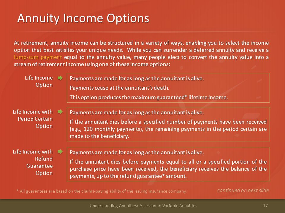 Annuity Income Options