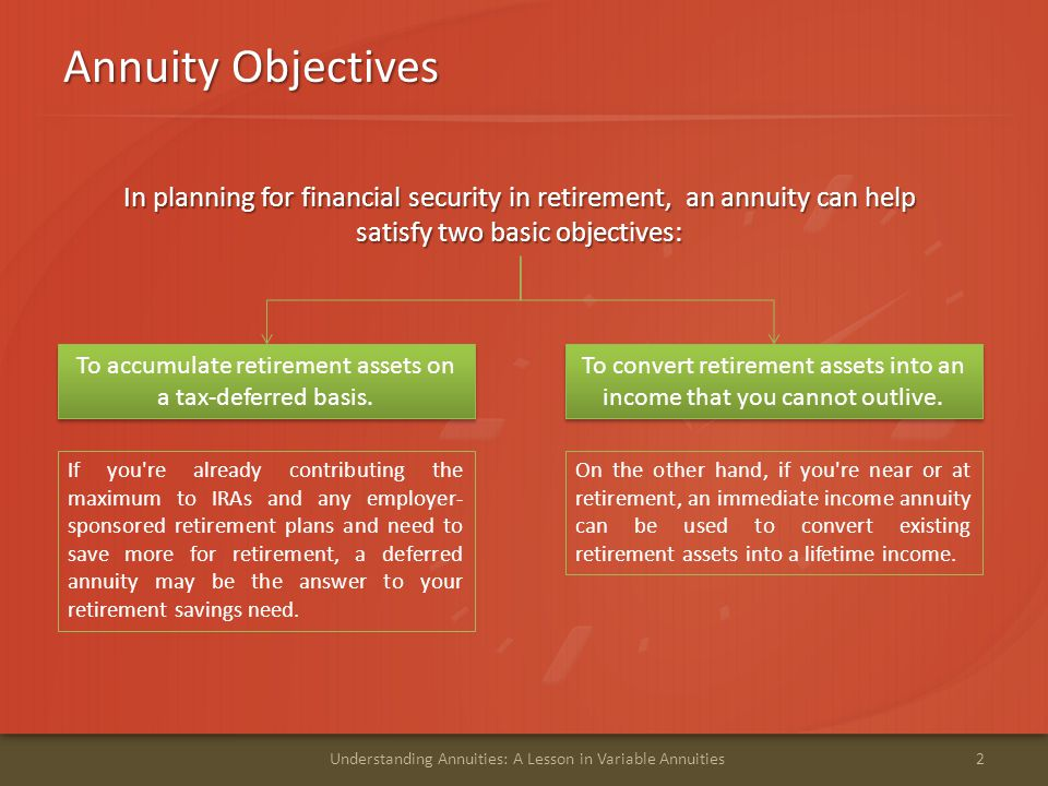 Annuity Objectives In planning for financial security in retirement, an annuity can help satisfy two basic objectives: