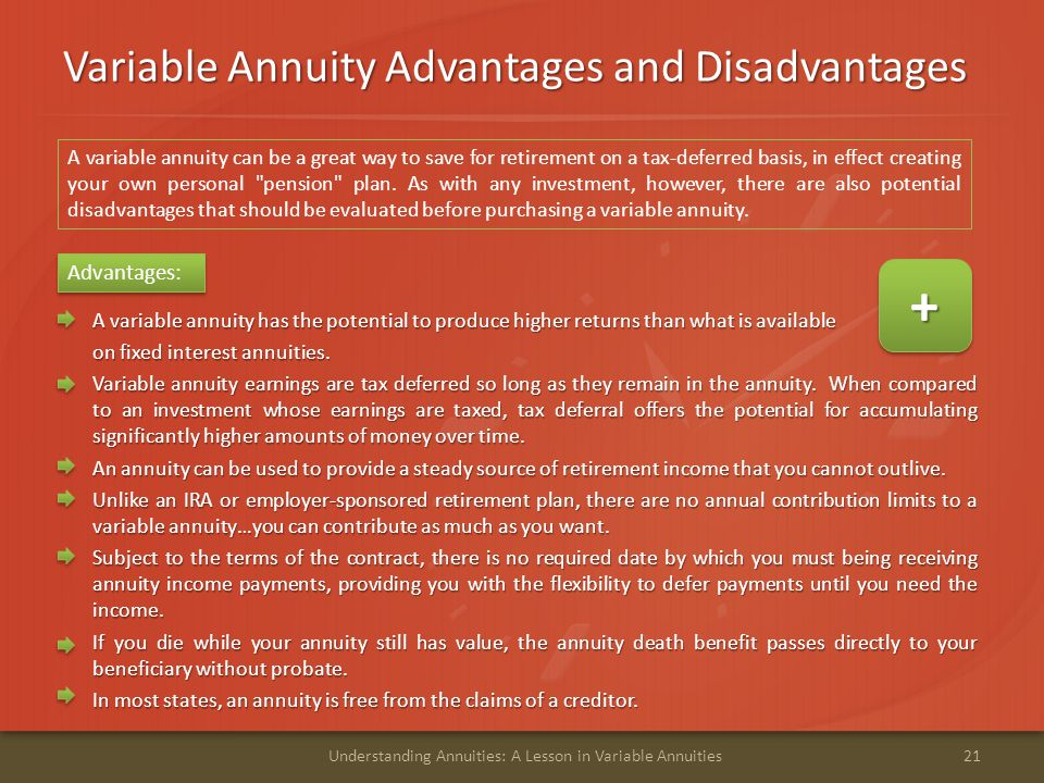 Variable Annuity Advantages and Disadvantages