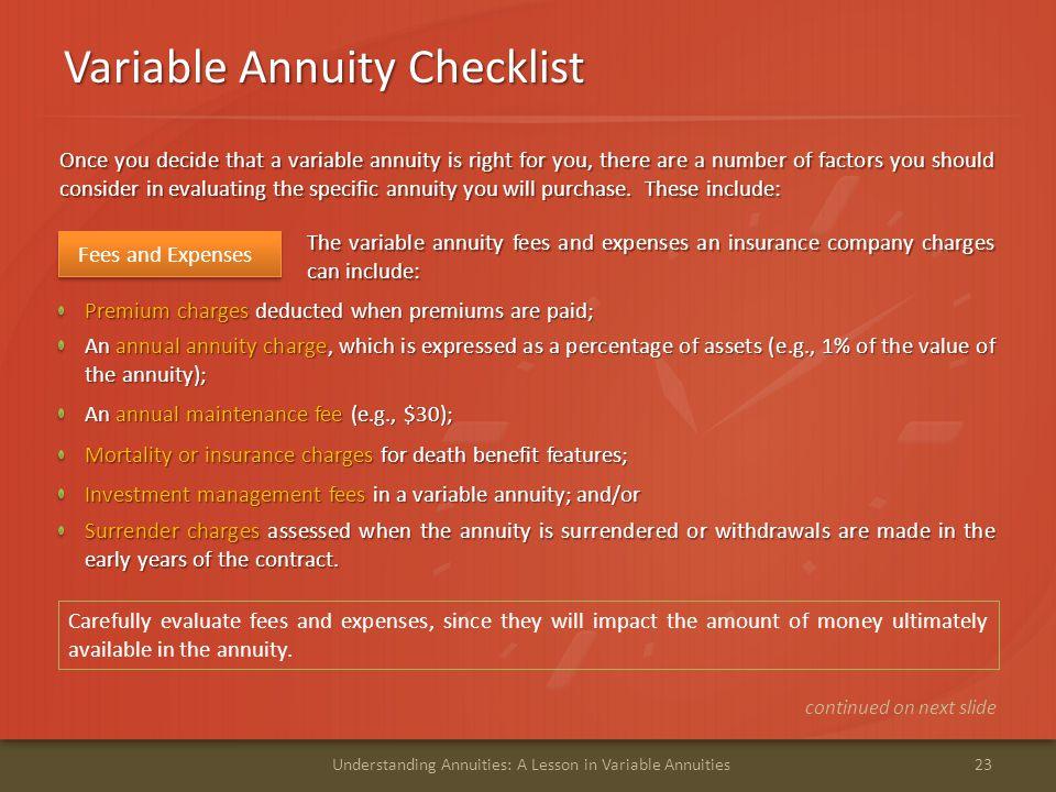 Variable Annuity Checklist
