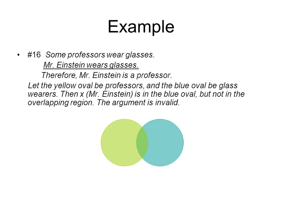Example #16 Some professors wear glasses. Mr. Einstein wears glasses.