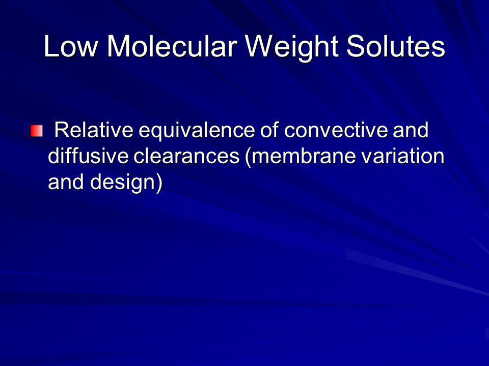 Low Molecular Weight Solutes