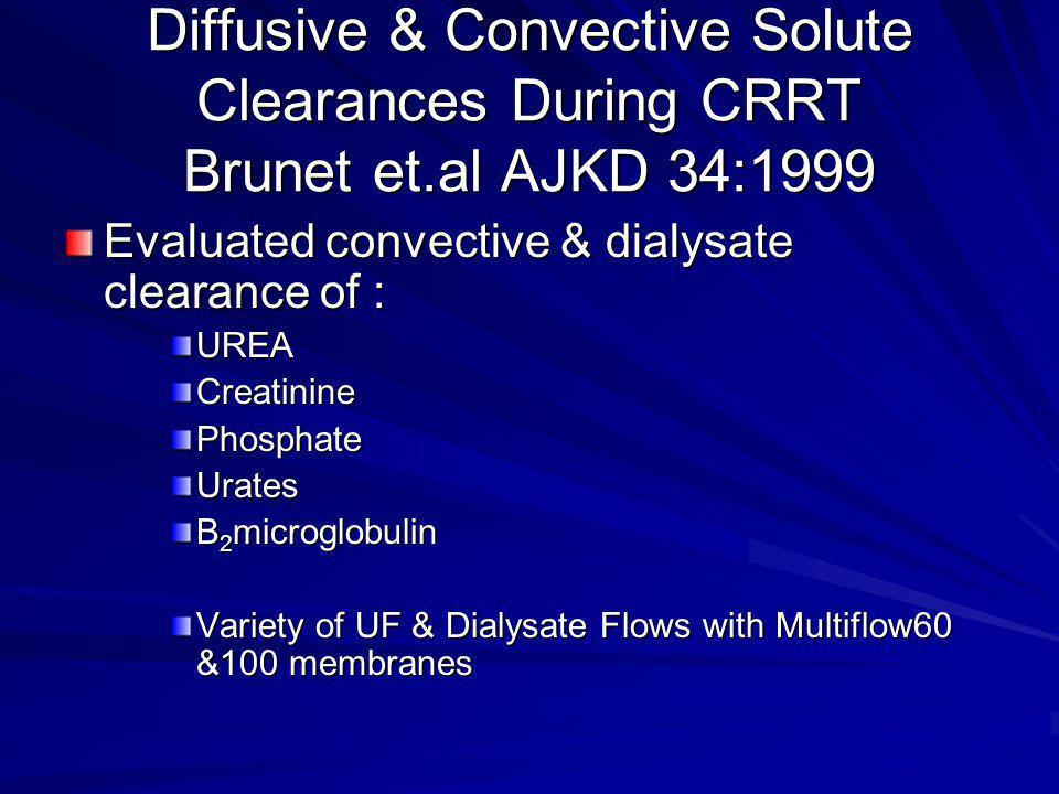 Diffusive & Convective Solute Clearances During CRRT Brunet et