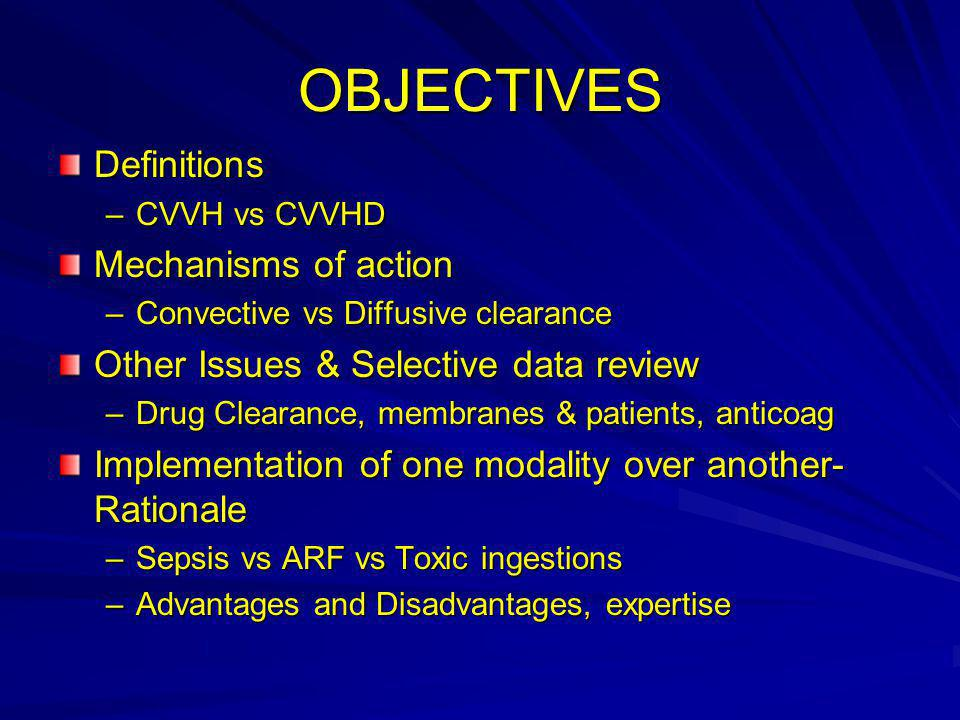 OBJECTIVES Definitions Mechanisms of action