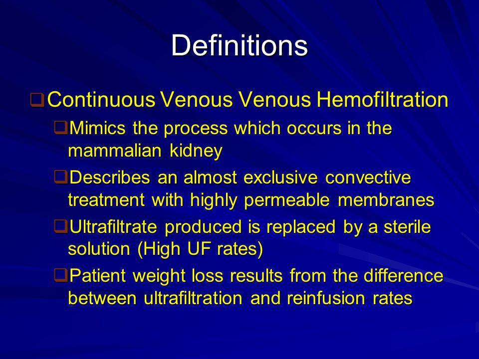 Definitions Continuous Venous Venous Hemofiltration