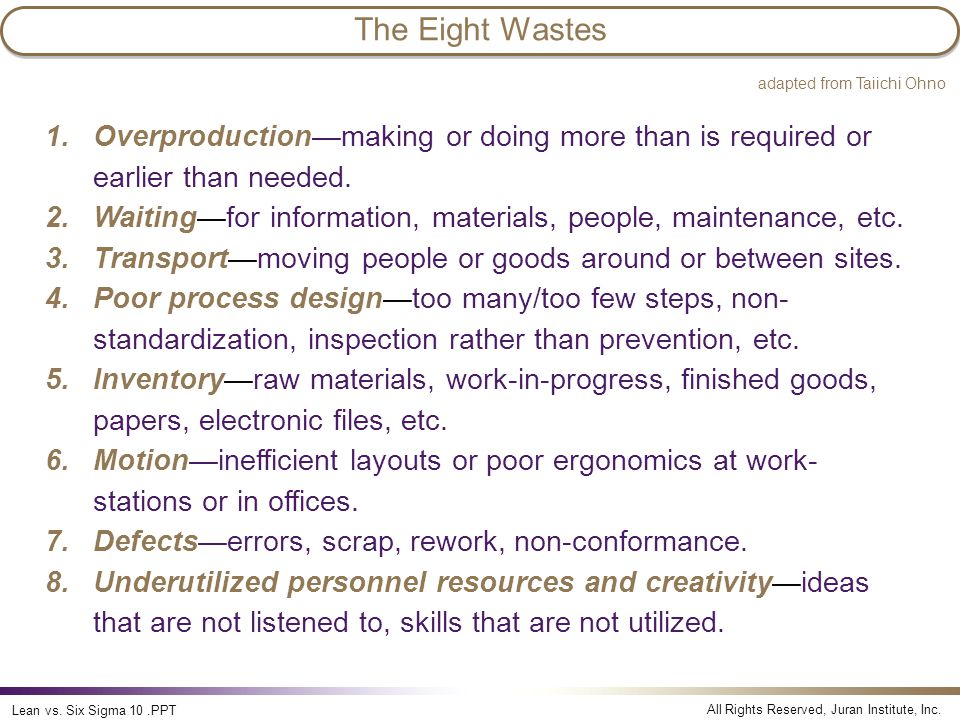 The Eight Wastes Lean vs. Six Sigma