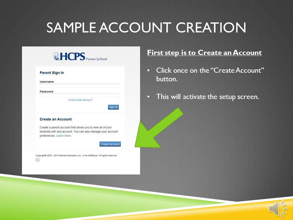 Sample account creation