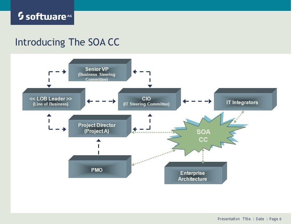 Introducing The SOA CC SOA CC Presentation Title Date Author Senior VP