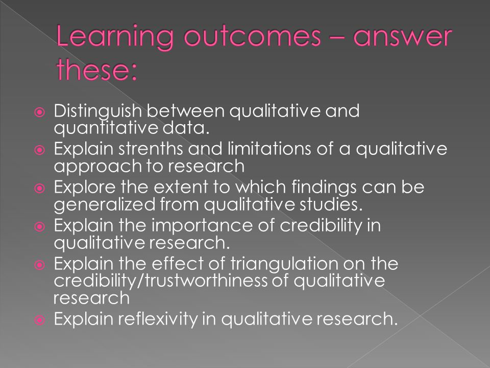 Learning outcomes – answer these: