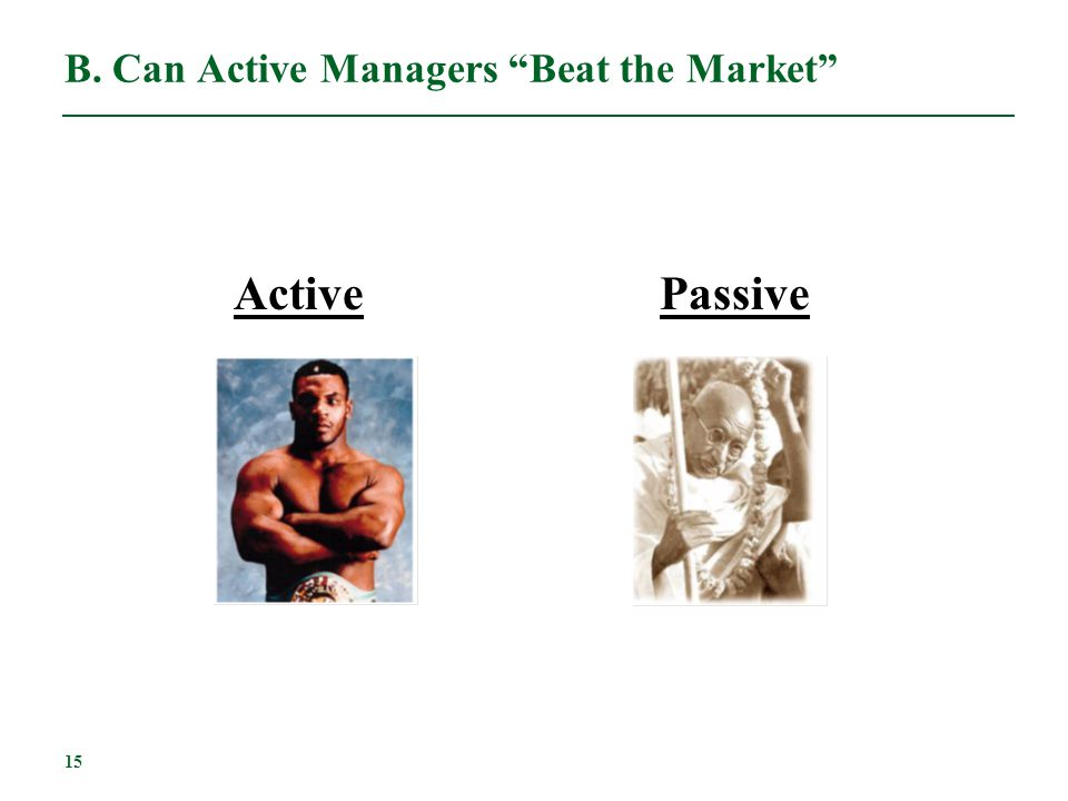 B. Can Active Managers Beat the Market