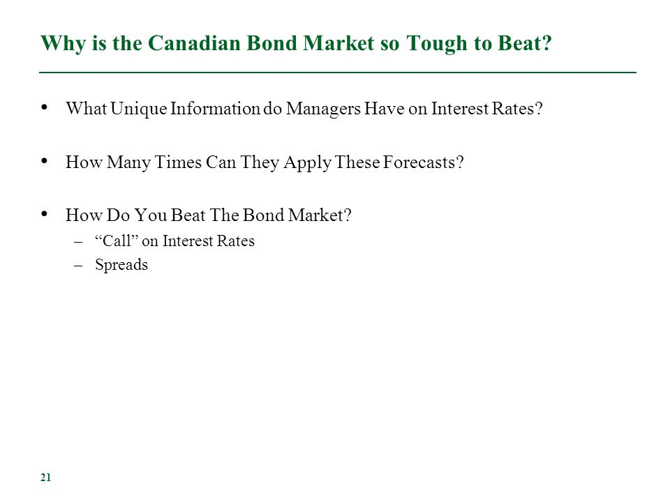 Why is the Canadian Bond Market so Tough to Beat