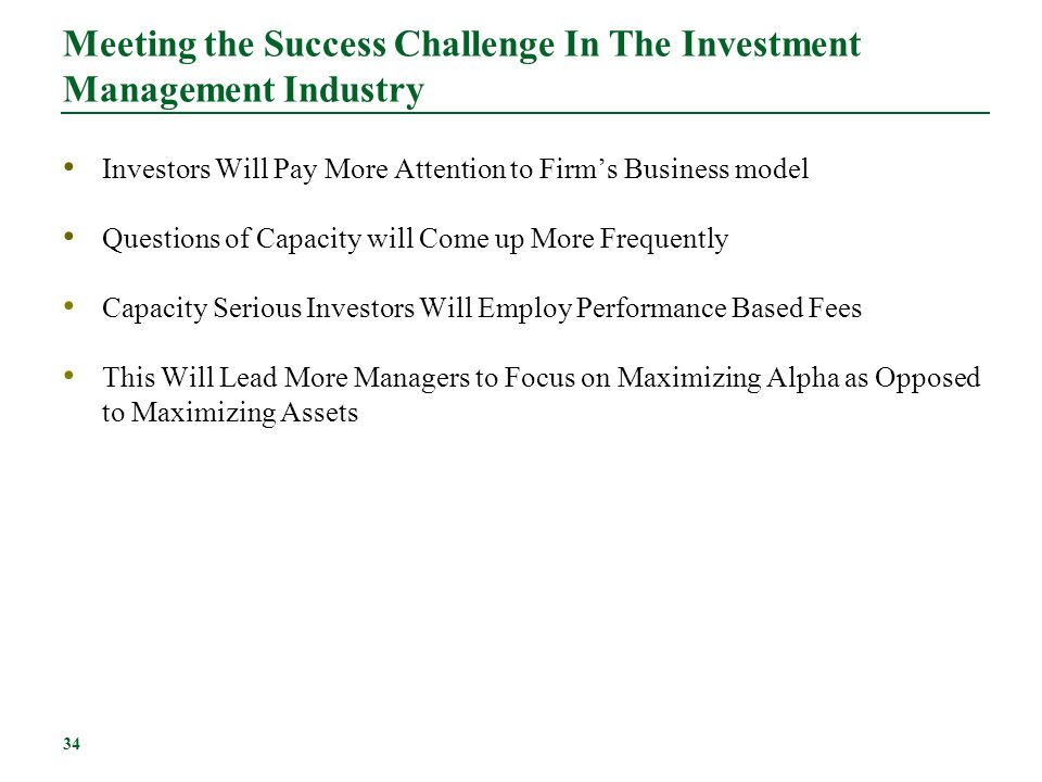 Meeting the Success Challenge In The Investment Management Industry