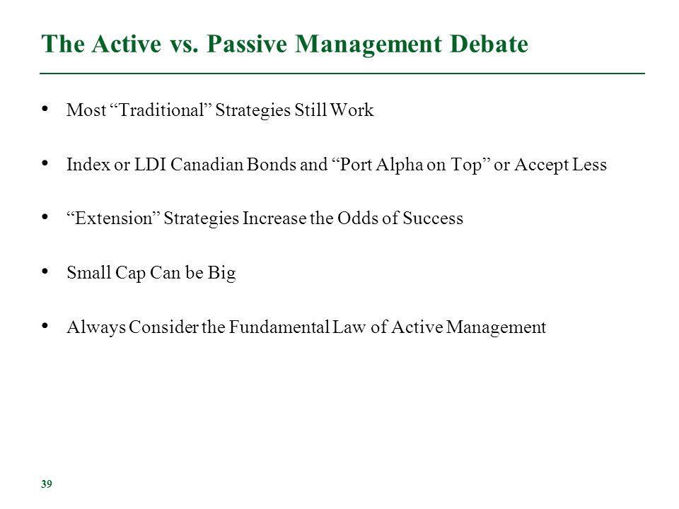 The Active vs. Passive Management Debate