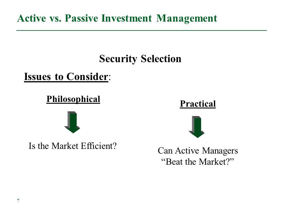 Active vs. Passive Investment Management