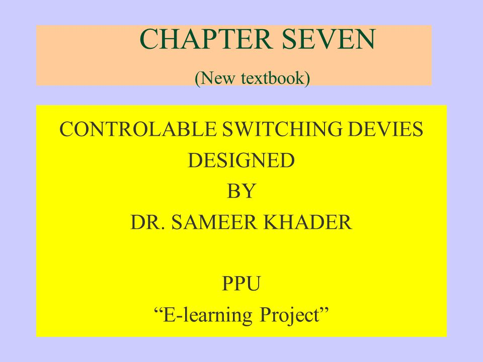 CHAPTER SEVEN (New textbook)
