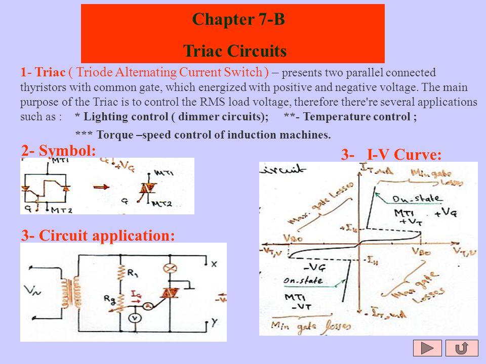 Chapter 7-B Triac Circuits 2- Symbol: 3- I-V Curve: