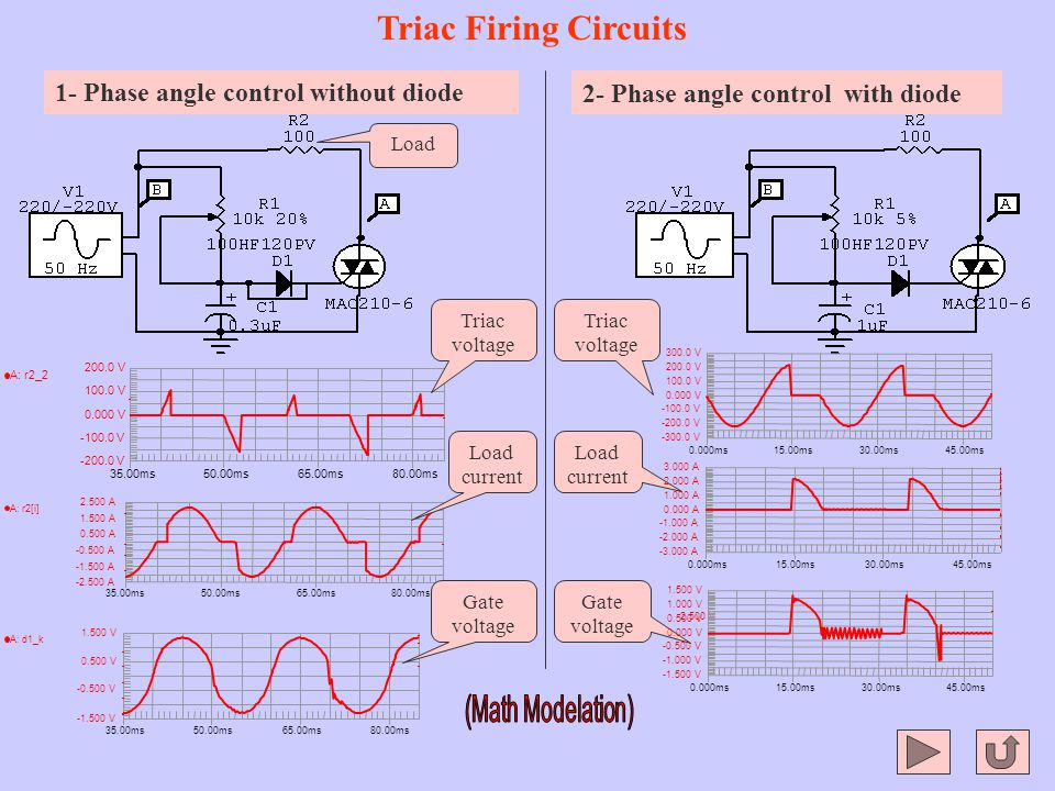 Triac Firing Circuits 1- Phase angle control without diode