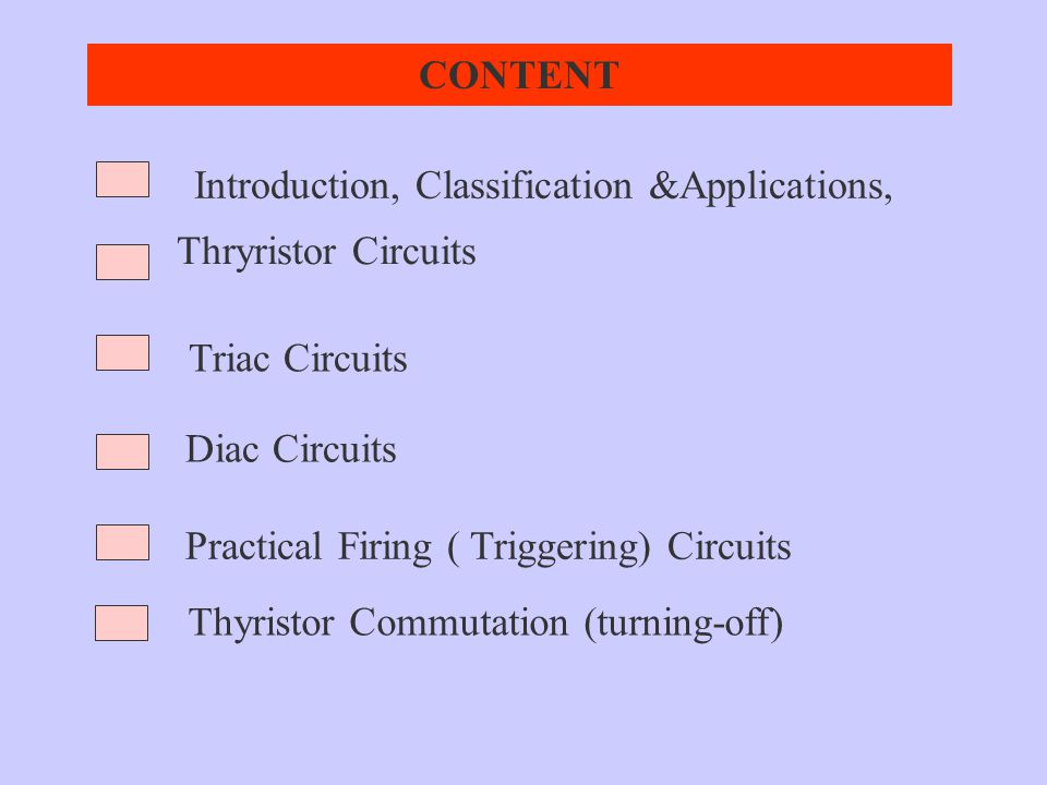CONTENT Introduction, Classification &Applications, Thryristor Circuits. Triac Circuits. Diac Circuits.