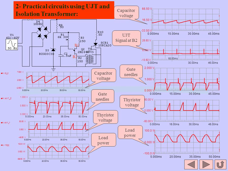 2- Practical circuits using UJT and Isolation Transformer:
