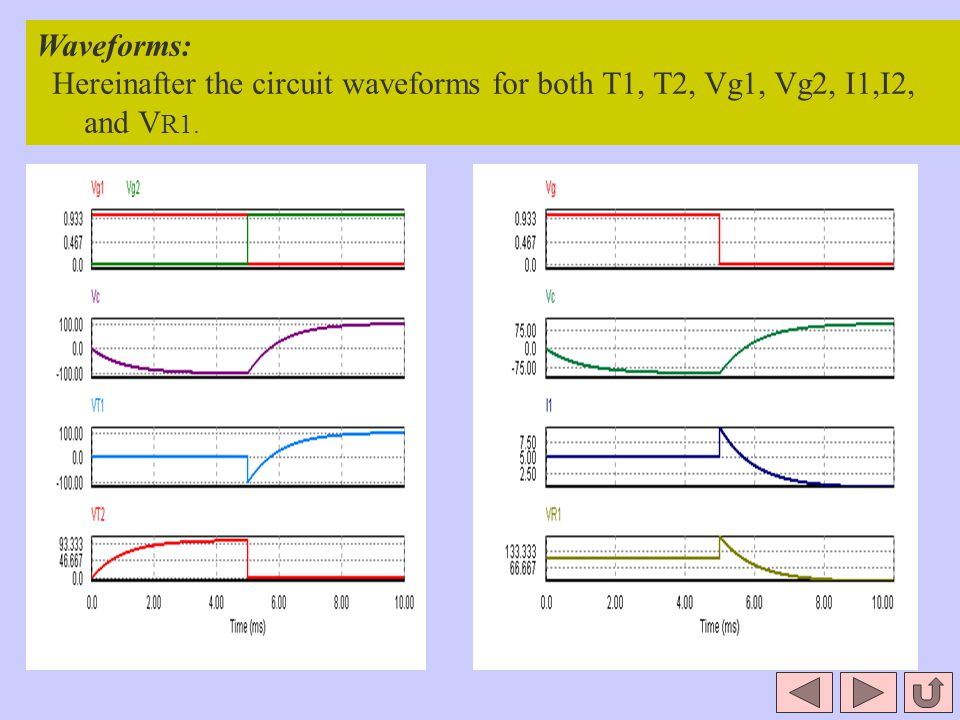Waveforms: Hereinafter the circuit waveforms for both T1, T2, Vg1, Vg2, I1,I2, and VR1.