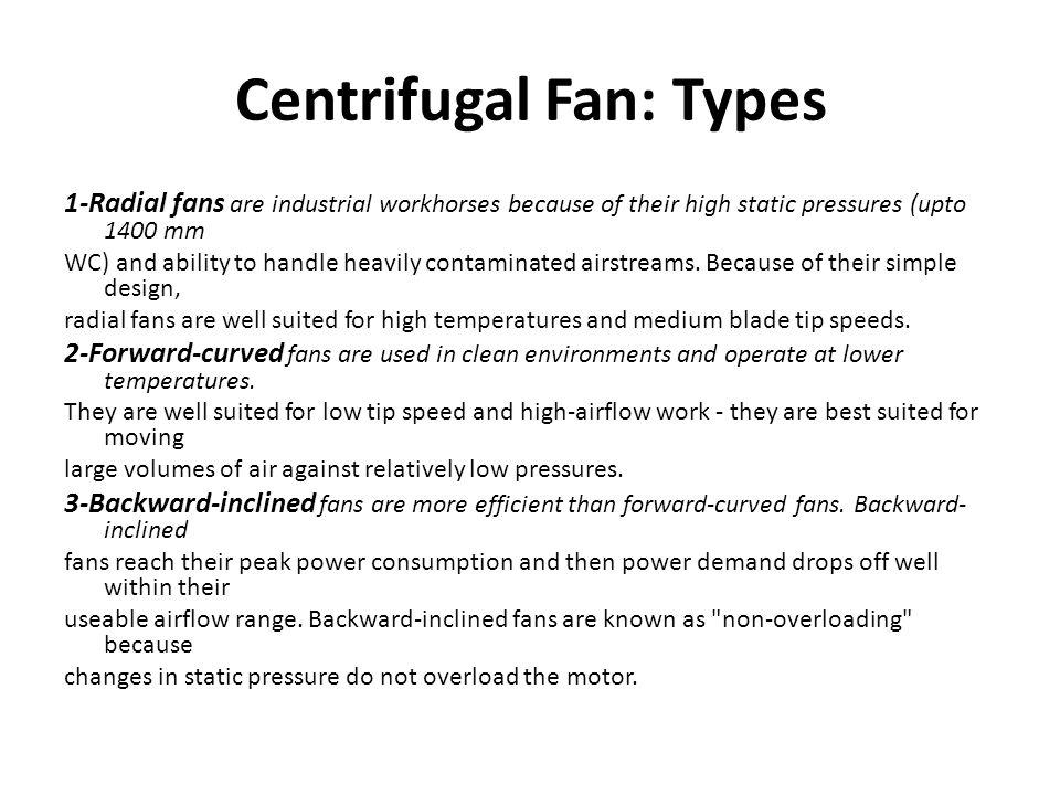 Centrifugal Fan: Types
