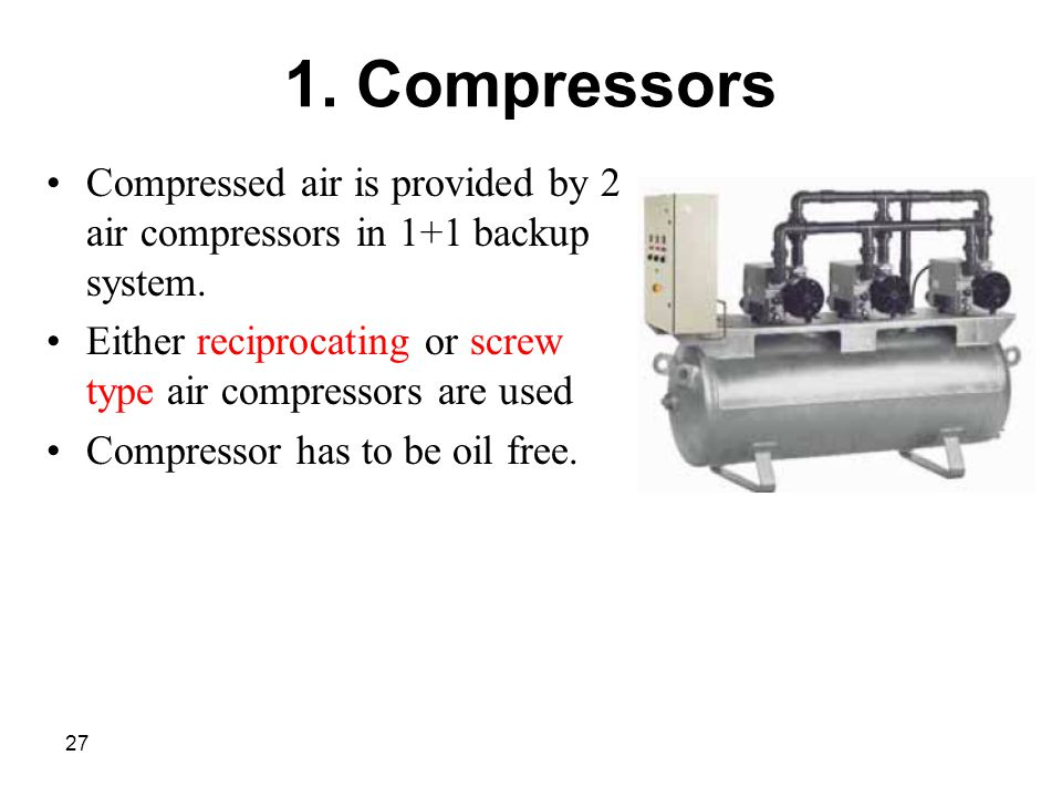 1. Compressors Compressed air is provided by 2 air compressors in 1+1 backup system. Either reciprocating or screw type air compressors are used.