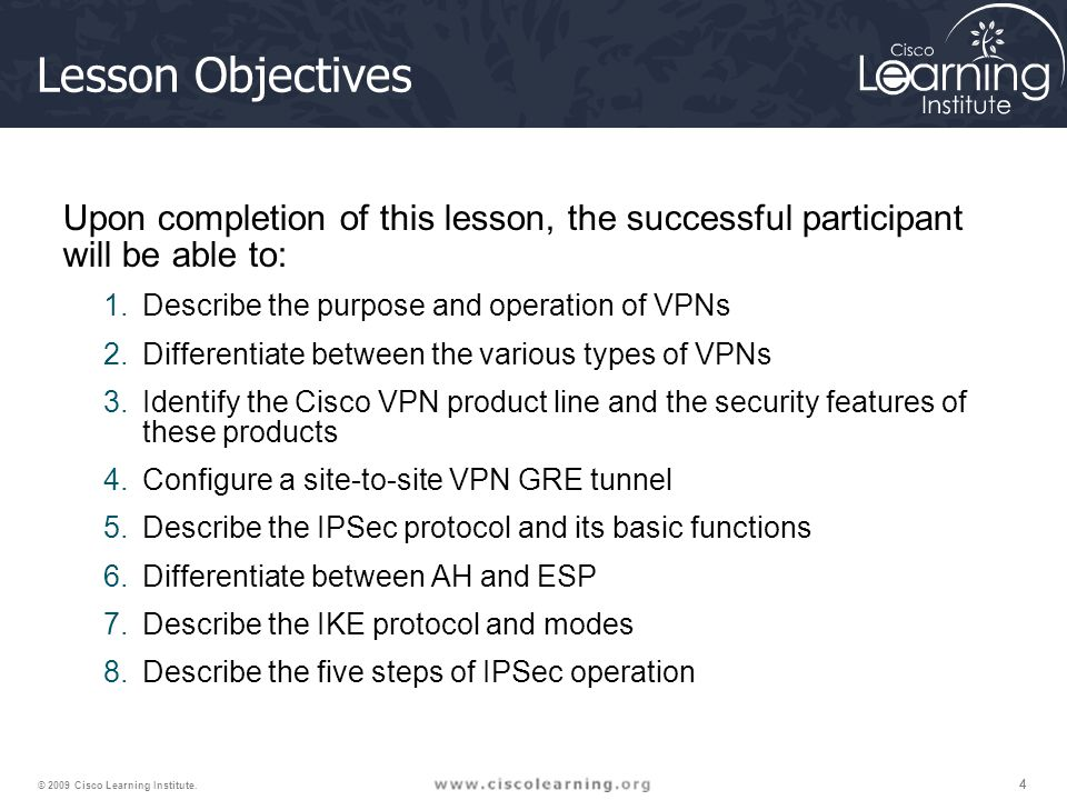 Lesson Objectives Upon completion of this lesson, the successful participant will be able to: Describe the purpose and operation of VPNs.