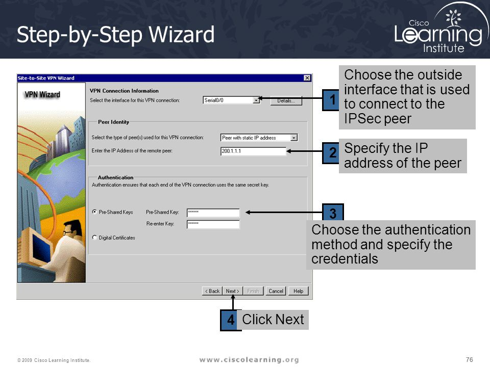 Step-by-Step Wizard Choose the outside interface that is used
