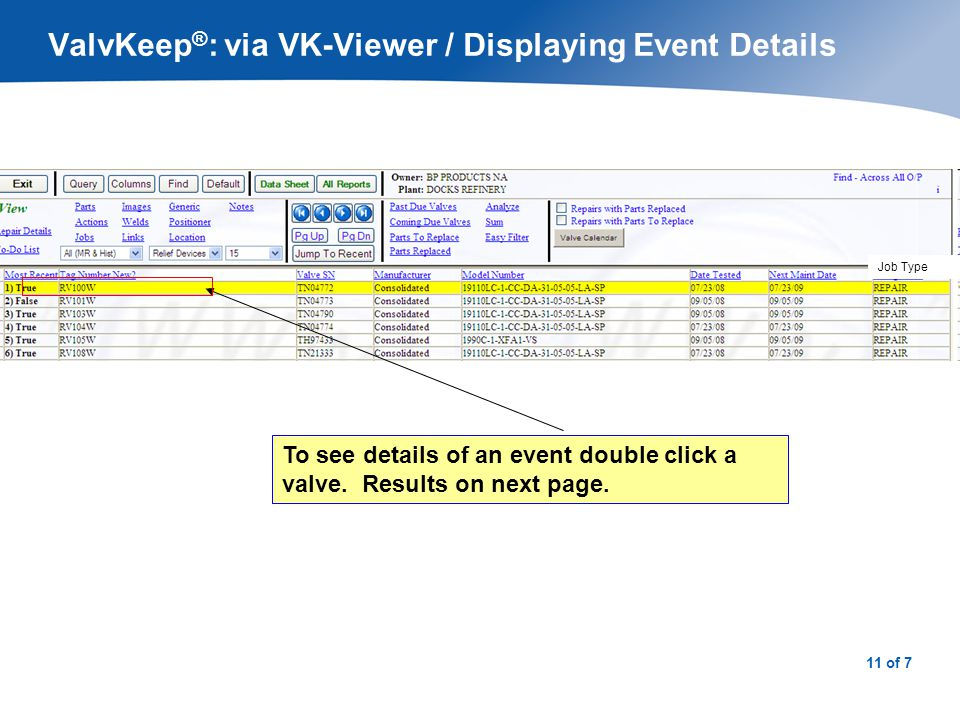 ValvKeep®: via VK-Viewer / Event Details