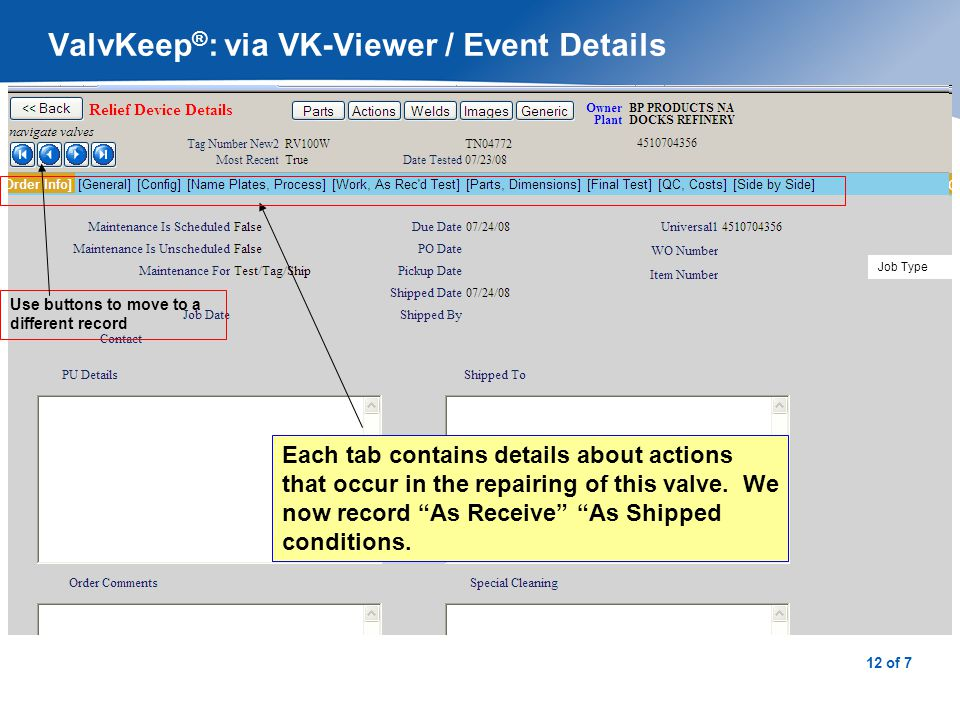 ValvKeep®: via VK-Viewer / Event Parts, Images, Etc
