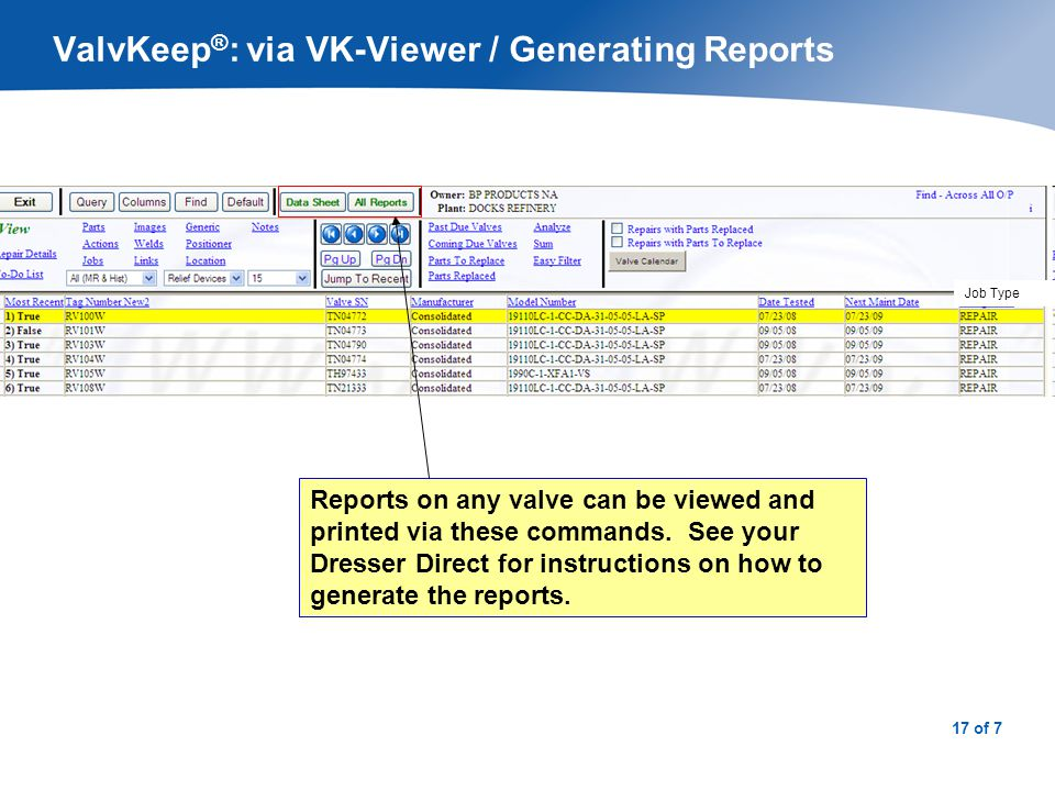 ValvKeep®: via VK-Viewer / Valve Data Report