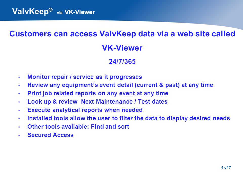 ValvKeep®: via VK-Viewer / Plant Equipment List
