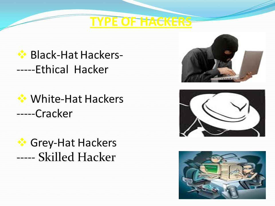 TYPE OF HACKERS Black-Hat Hackers- -----Ethical Hacker