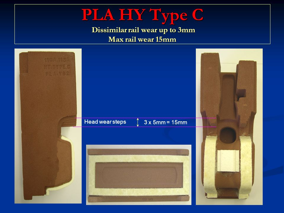 PLA HY Type C Dissimilar rail wear up to 3mm Max rail wear 15mm