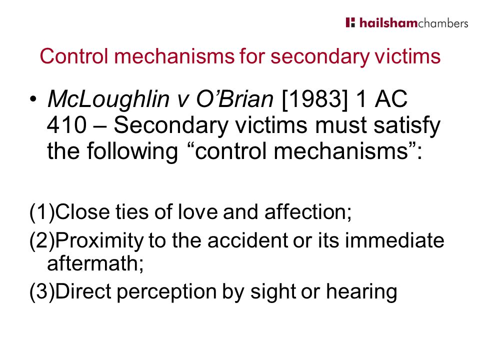Control mechanisms for secondary victims