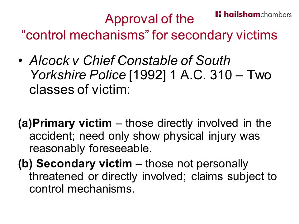 Approval of the control mechanisms for secondary victims