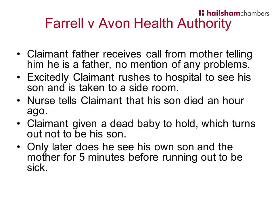 Farrell v Avon Health Authority