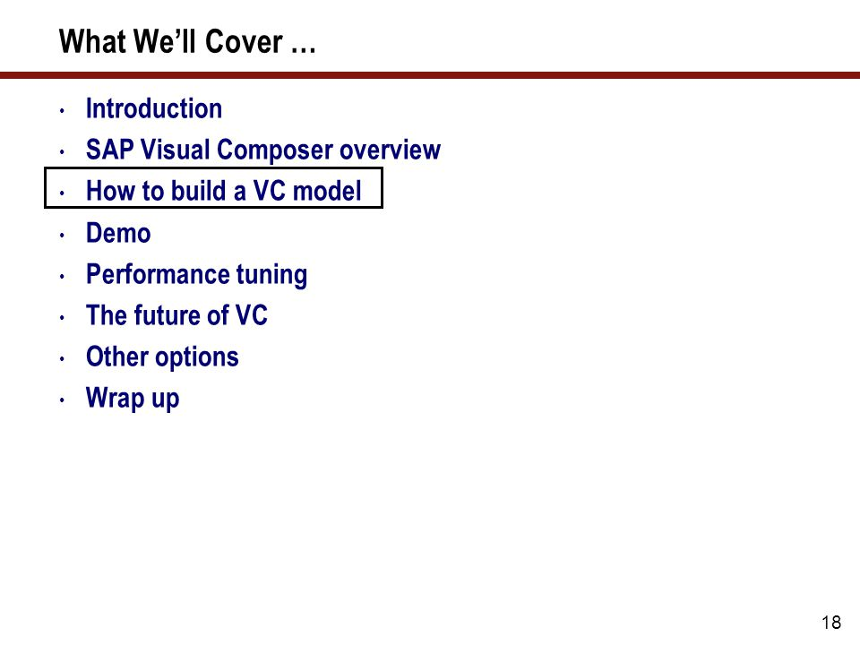 Modeling Overview In this section we will review some of the technical options in SAP VC and take a look at the purpose of each of these.