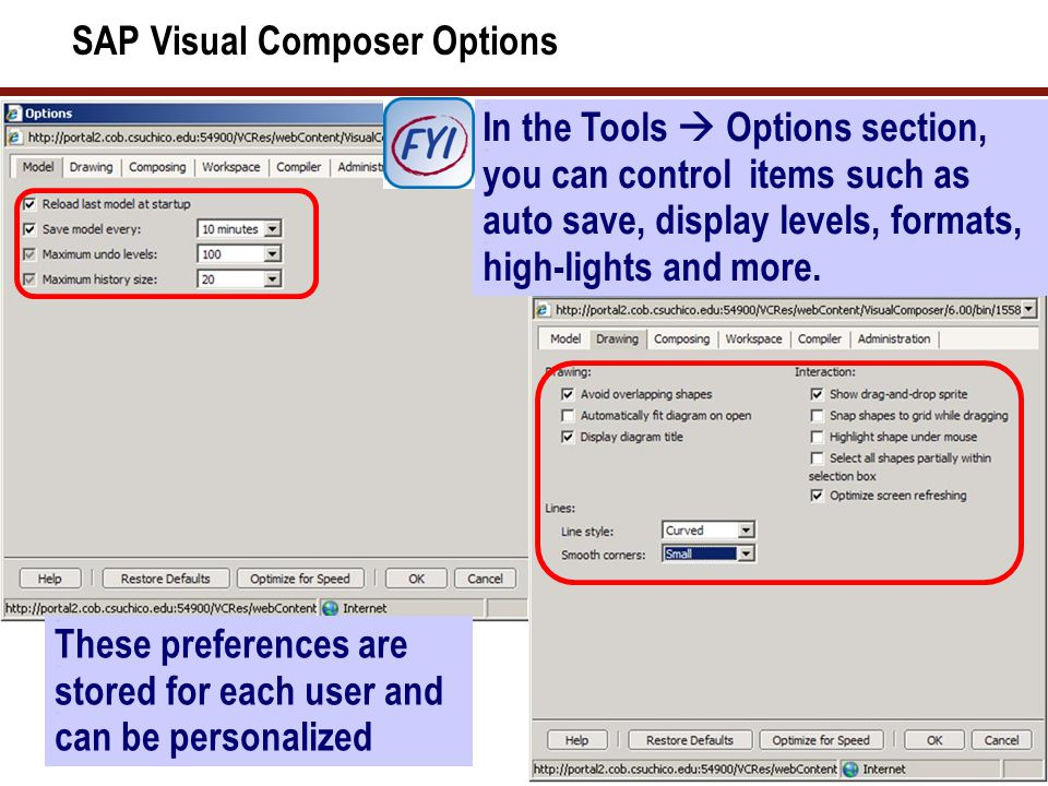 SAP Visual Composer Workspace Options