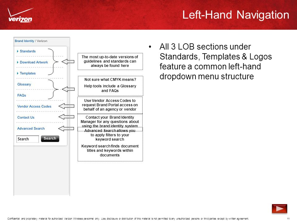 Left-Hand Navigation All 3 LOB sections under Standards, Templates & Logos feature a common left-hand dropdown menu structure.