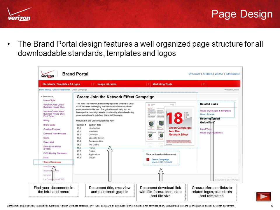 Page Design The Brand Portal design features a well organized page structure for all downloadable standards, templates and logos.