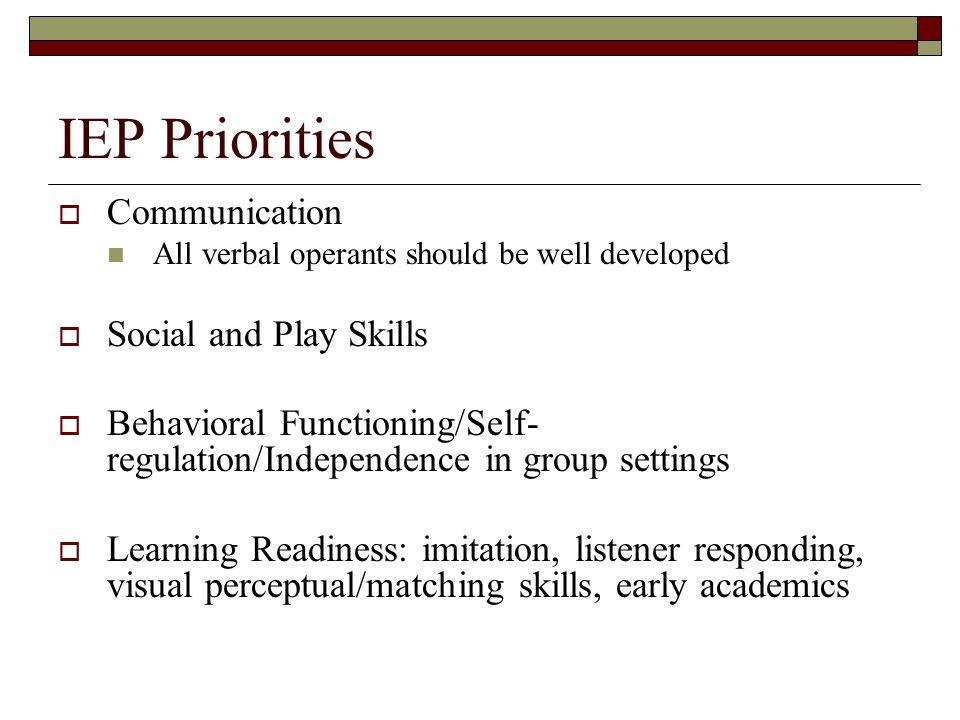 IEP Priorities Communication Social and Play Skills