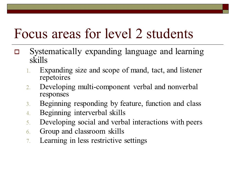 Focus areas for level 2 students